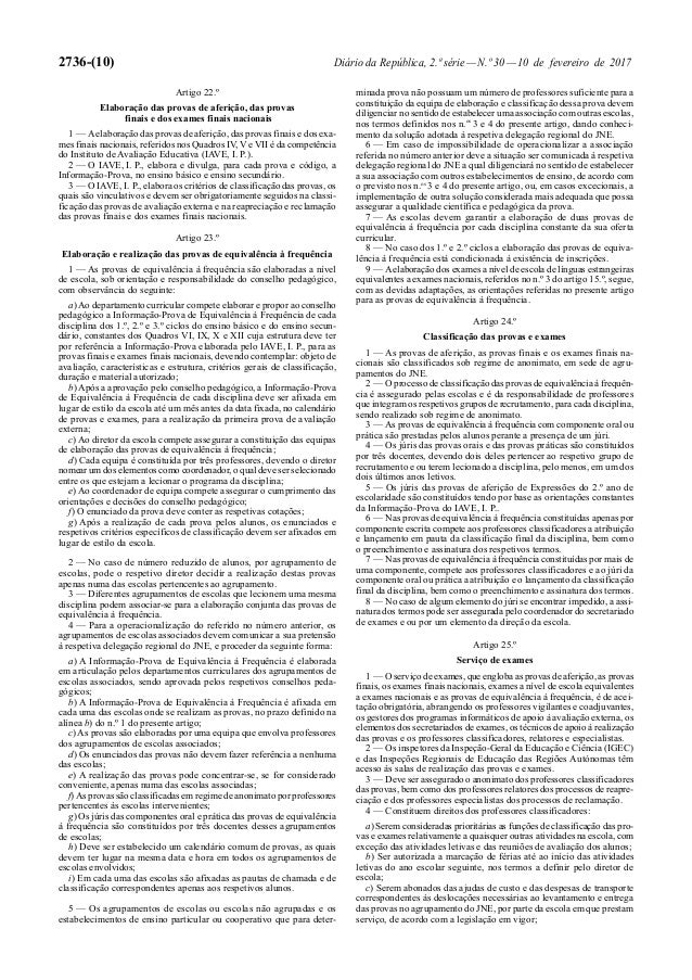 2736-(10) Diário da República, 2.ª série—N.º 30—10 de fevereiro de 2017 Artigo 22.º Elaboração das provas de aferição, das...