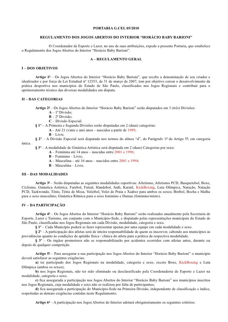 Regulamento dos jogos abertos e modalidades extras 2010