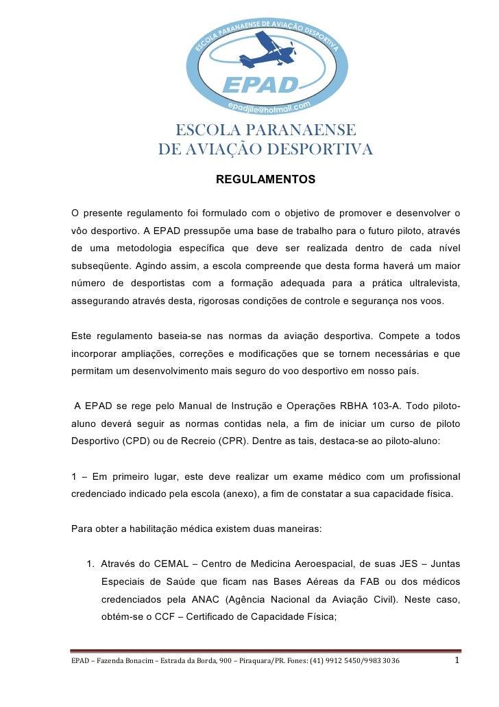 ESCOLA PARANAENSE                        DE AVIAÇÃO DESPORTIVA                                         REGULAMENTOS2 SUHVH...
