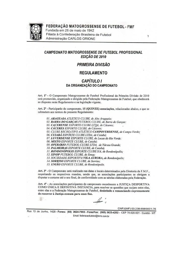 Regulamento Estadual Matogrossense 2010