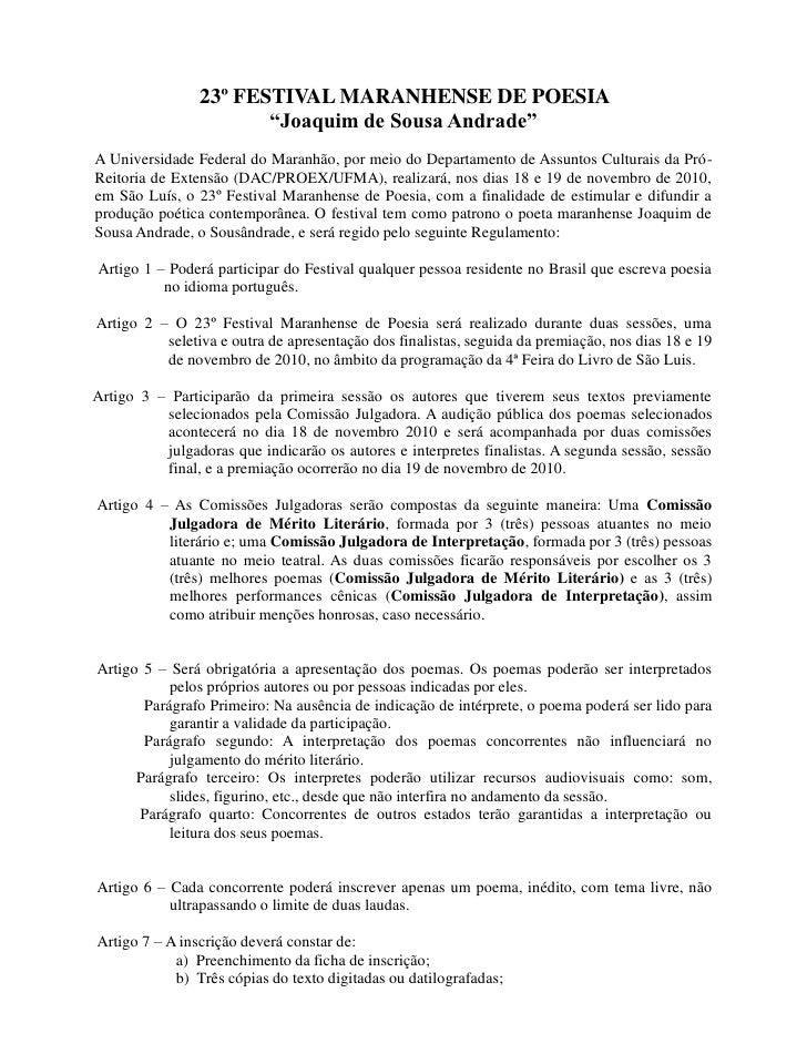 """23º FESTIVAL MARANHENSE DE POESIA                        """"Joaquim de Sousa Andrade"""" A Universidade Federal do Maranhão, po..."""