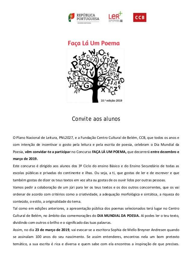Convite aos alunos O Plano Nacional de Leitura, PNL2027, e a Funda��o Centro Cultural de Bel�m, CCB, que todos os anos e c...