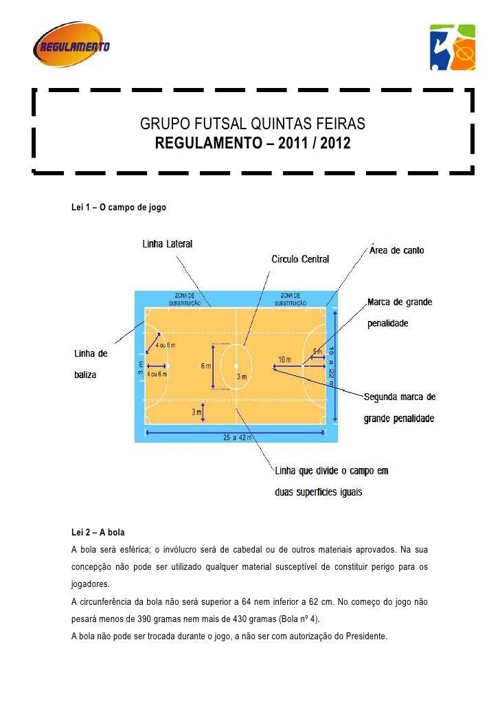 o                  GRUPO FUTSAL QUINTAS FEIRAS                   REGULAMENTO – 2011 / 2012Lei 1 – O campo de jogoLei 2 – A...