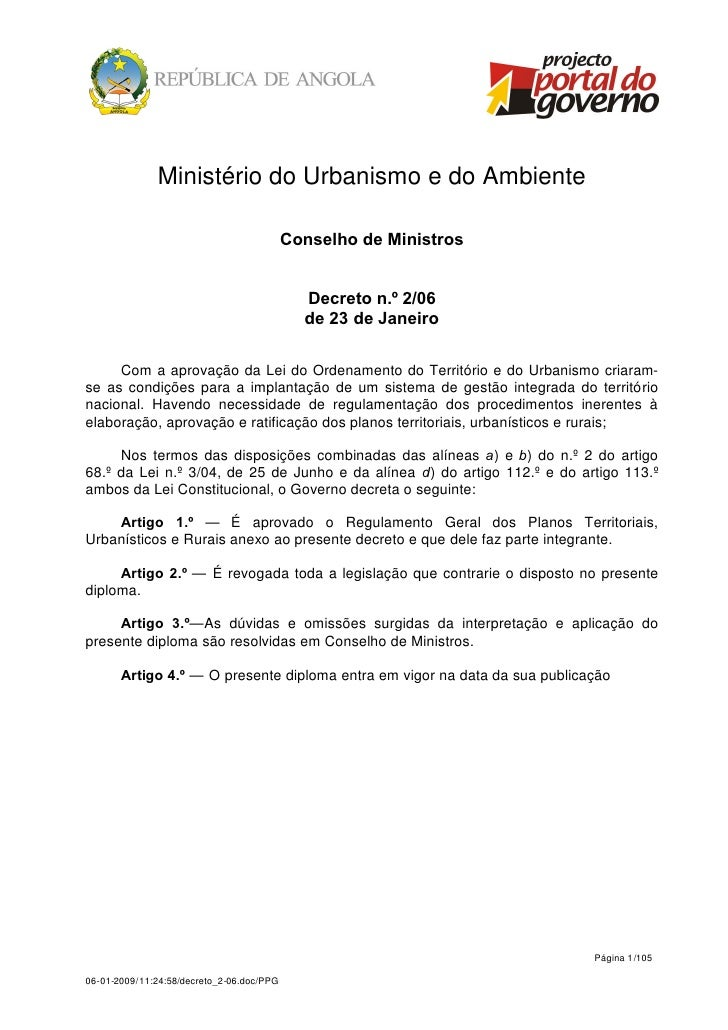 Ministério do Urbanismo e do Ambiente                                           Conselho de Ministros                     ...