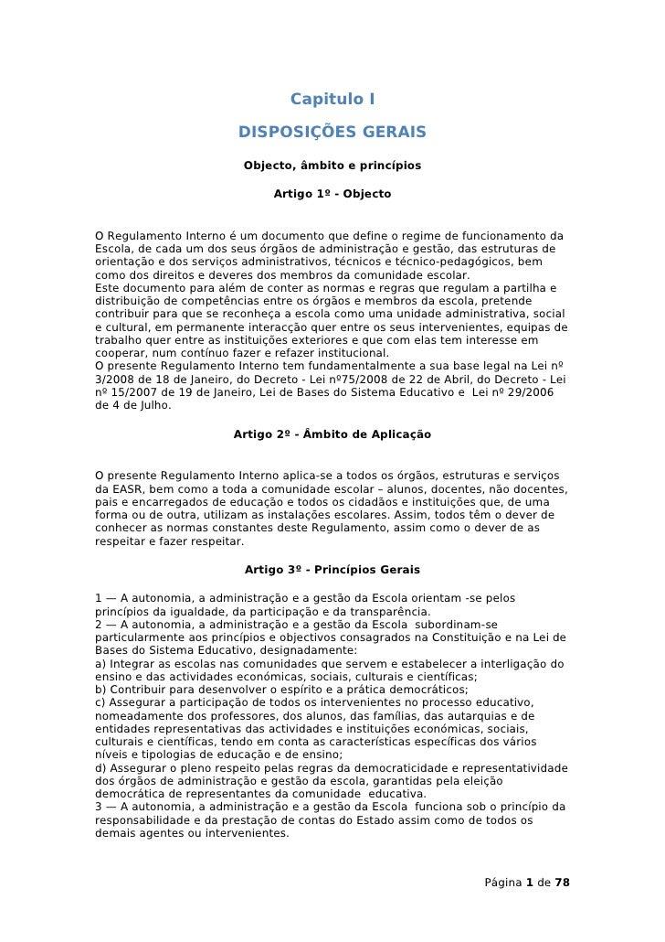 Capitulo I                           DISPOSIÇÕES GERAIS                            Objecto, âmbito e princípios           ...