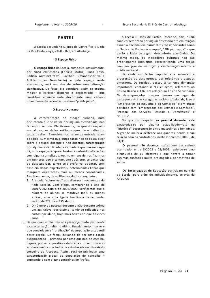Regulamento Interno 2009/10                     -         Escola Secundária D. Inês de Castro - Alcobaça                  ...