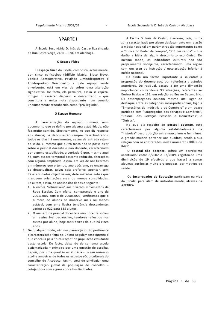 Regulamento Interno 2008/09                      -        Escola Secundária D. Inês de Castro - Alcobaça                  ...