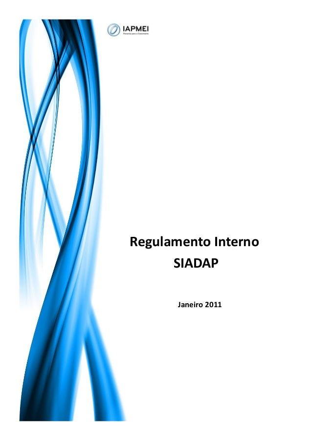 Regulamento Interno SIADAP Janeiro 2011