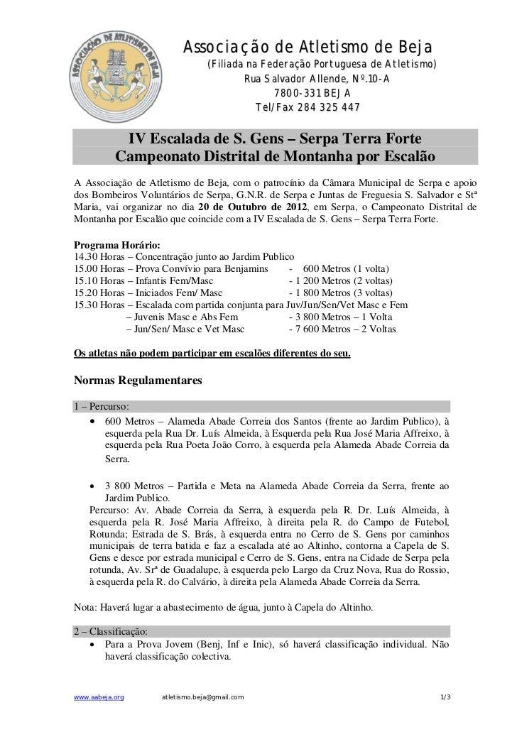 Associação de Atletismo de Beja                                 (Filiada na Federação Portuguesa de Atletismo)            ...
