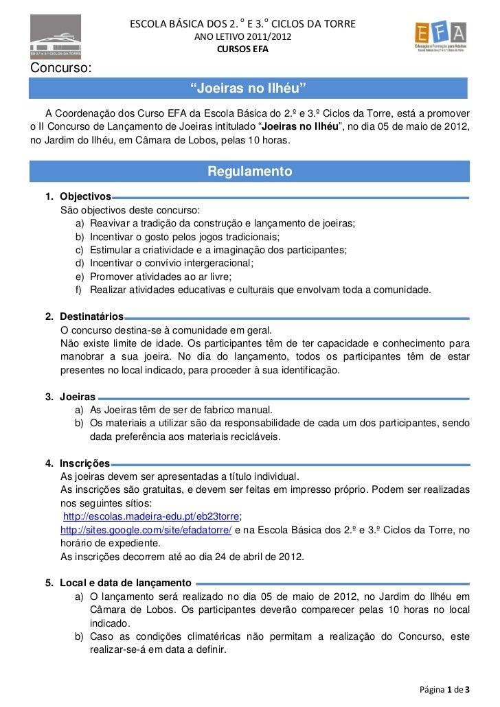 ESCOLA BÁSICA DOS 2. o E 3.o CICLOS DA TORRE                                    ANO LETIVO 2011/2012                      ...