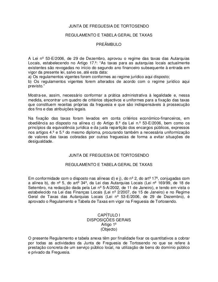 JUNTA DE FREGUESIA DE TORTOSENDO                    REGULAMENTO E TABELA GERAL DE TAXAS                                   ...