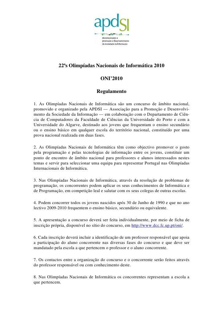 22ªs Olimpíadas Nacionais de Informática 2010                                      ONI'2010                               ...