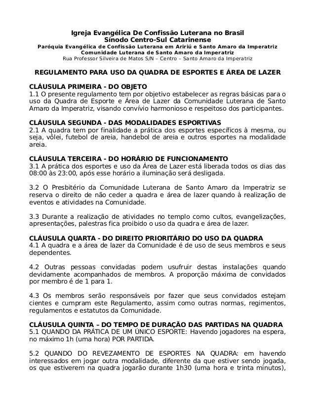 Igreja Evangélica De Confissão Luterana no Brasil Sínodo Centro-Sul Catarinense Paróquia Evangélica de Confissão Luterana ...