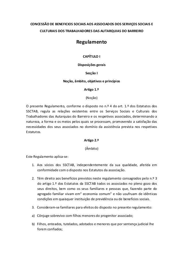 CONCESSÃO DE BENEFICIOS SOCIAIS AOS ASSOCIADOS DOS SERVIÇOS SOCIAIS E CULTURAIS DOS TRABALHADORES DAS AUTARQUIAS DO BARREI...