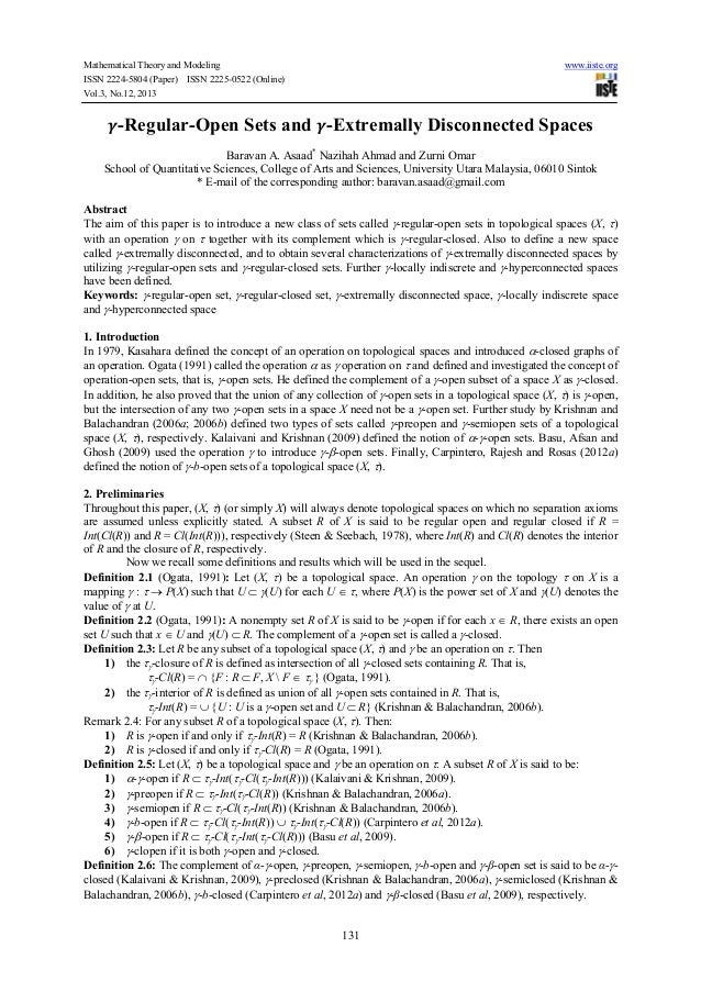 Mathematical Theory and Modeling ISSN 2224-5804 (Paper) ISSN 2225-0522 (Online) Vol.3, No.12, 2013  www.iiste.org  -Regula...