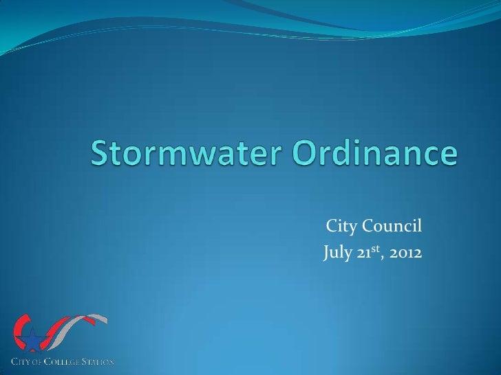 City CouncilJuly 21st, 2012