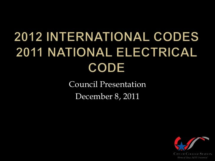 Building Regulations - National Electrical Code