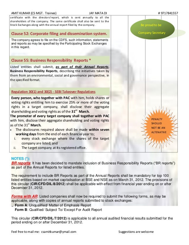 Regular Compliances Of Listing Agreement