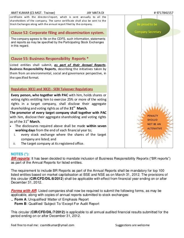 Regular Compliances Of Listing Agreement 1