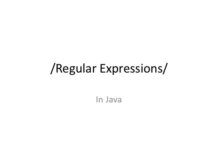 /Regular Expressions/        In Java