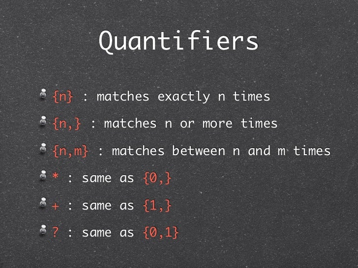 Quantifiers{n} : matches exactly n times{n,} : matches n or more times{n,m} : matches between n and m times* : same as {0,...