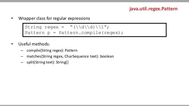 Regular Expressions Unique Java Pattern Compile