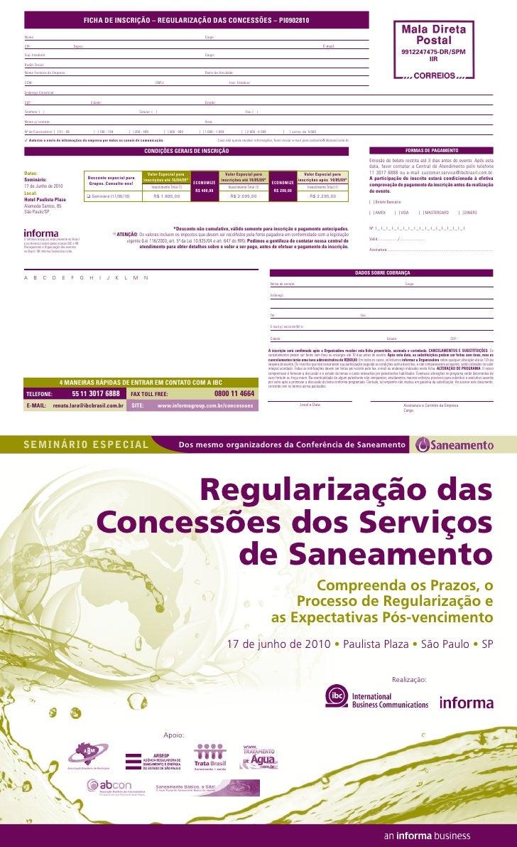 s e m i n á r i o especial       Dos mesmo organizadores da Conferência de Saneamento                         Regularizaçã...