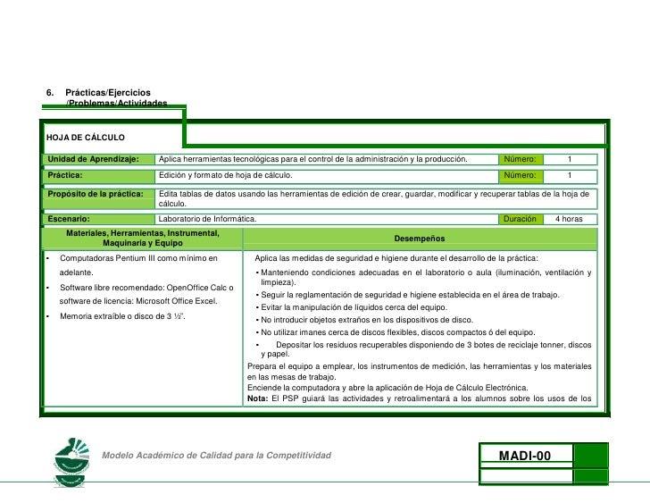 6.Prácticas/Ejercicios<br />/Problemas/Actividades<br />HOJA DE CÁLCULO<br />Unidad de Aprendizaje:Aplica herramientas tec...