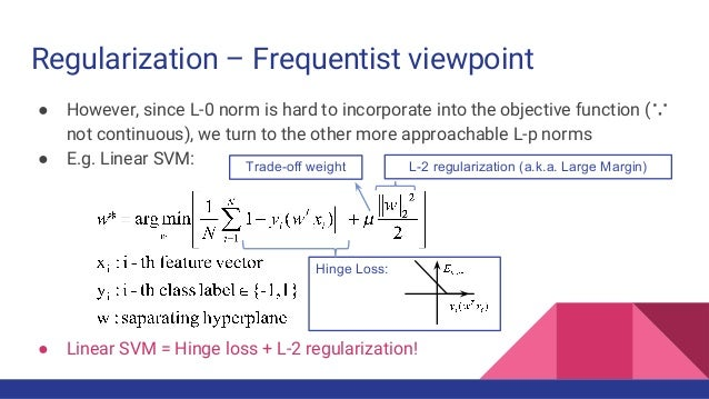 Regularization – Frequentist viewpoint ● However, since L-0 norm is hard to incorporate into the objective function (∵ not...