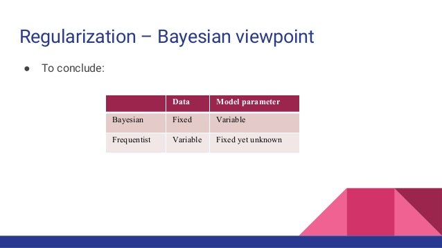 Regularization – Bayesian viewpoint ● To conclude: Data Model parameter Bayesian Fixed Variable Frequentist Variable Fixed...