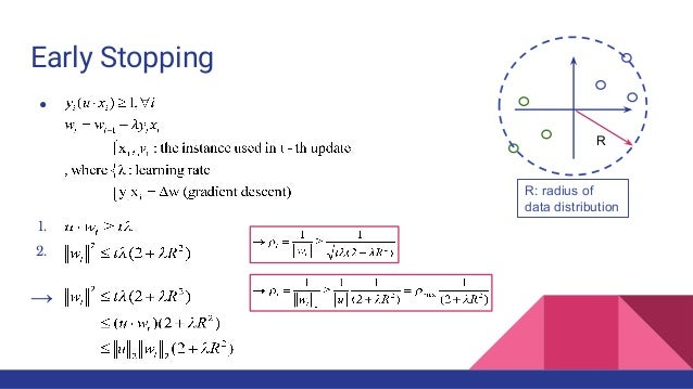 Early Stopping ● 1. 2. → R: radius of data distribution R