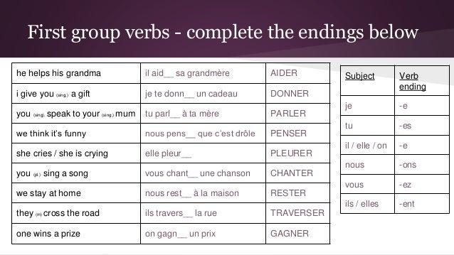 French regular verbs – first group (present tense) 7