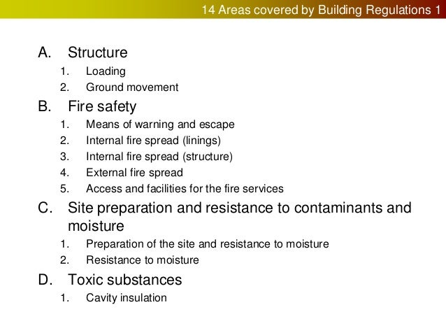 The building regulations and their approved documents for Construction rules and regulations