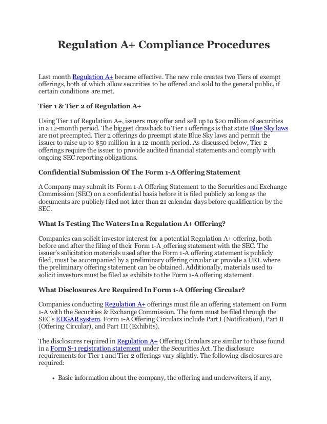 Regulation A+ Compliance