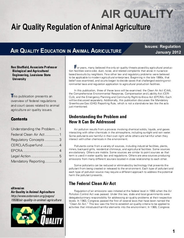 AIR QUALITYAir Quality Regulation of Animal Agriculture                                                                   ...