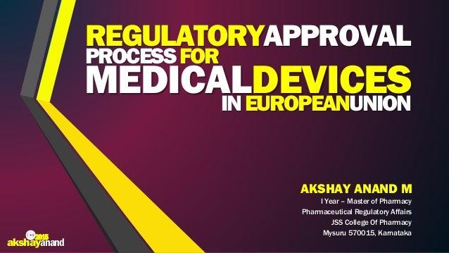 AKSHAY ANAND M I Year – Master of Pharmacy Pharmaceutical Regulatory Affairs JSS College Of Pharmacy Mysuru 570015, Karnat...