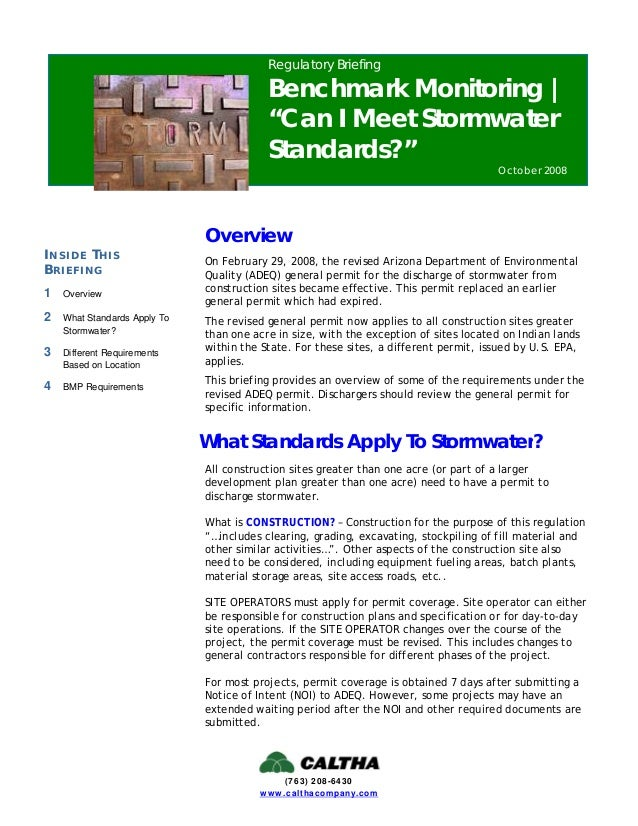 Regulatory Briefing Benchmark Monitoring Can I Meet Stormwater Sta