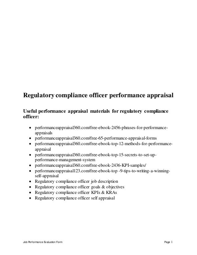 Regulatory compliance officer performance appraisal - Assistant compliance officer ...
