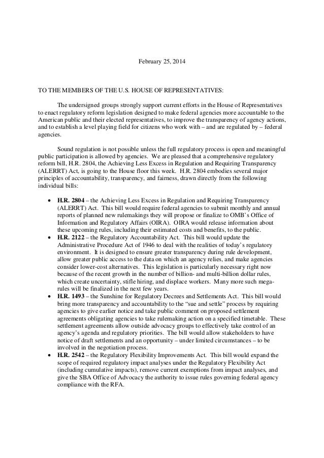 February 25, 2014 TO THE MEMBERS OF THE U.S. HOUSE OF REPRESENTATIVES: The undersigned groups strongly support current eff...