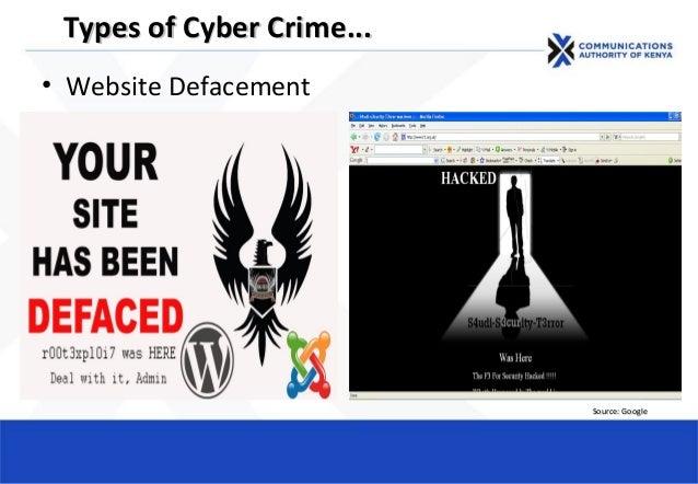 • Website Defacement Types of Cyber CrimeTypes of Cyber Crime...... Source: GoogleSource: Google