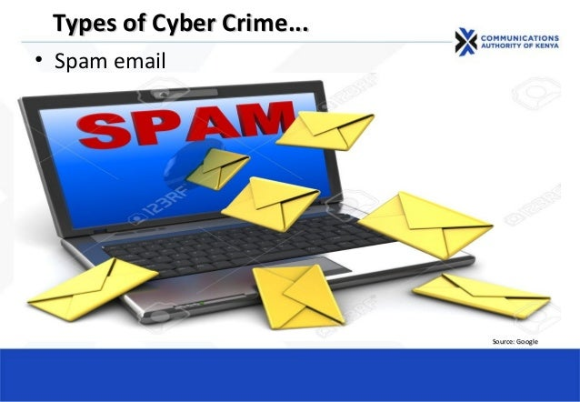 • Spam email Types of Cyber CrimeTypes of Cyber Crime...... Source: GoogleSource: Google