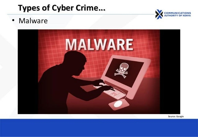 • Malware Types of Cyber CrimeTypes of Cyber Crime...... Source: GoogleSource: Google