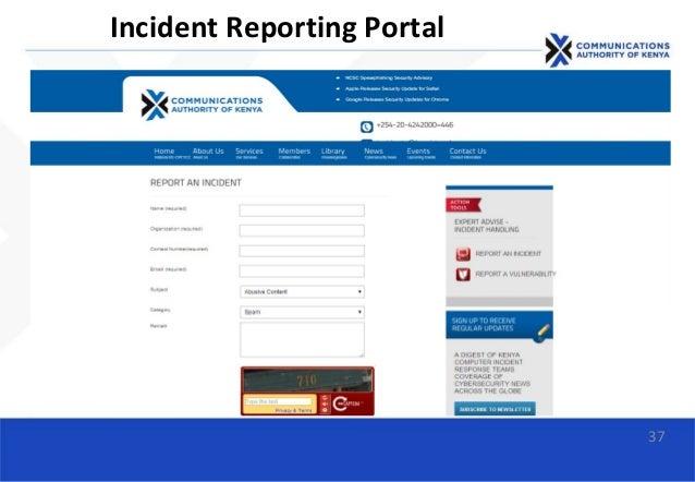 37 Incident Reporting Portal
