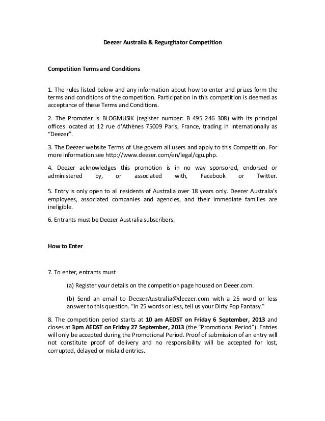 Deezer	   Australia	   &	   Regurgitator	   Competition	   	    	    Competition	   Terms	   and	   Conditions	    	    1....