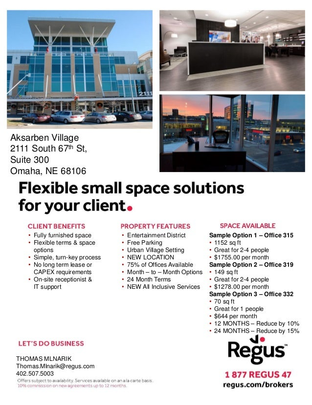 Regus Omaha Area Packet For Commercial Brokers