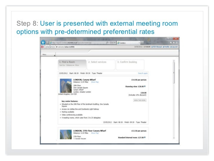 Step 8: User is presented with external meeting roomoptions with pre-determined preferential rates