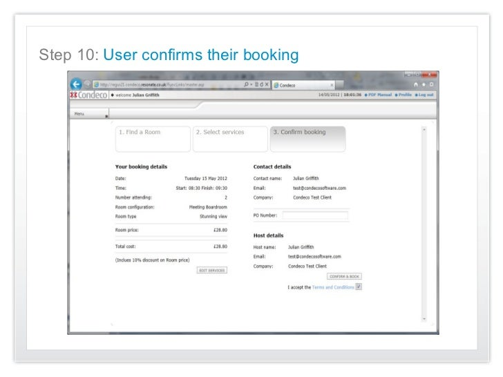 Step 10: User confirms their booking