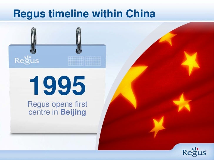 Regus timeline within China  1995  Regus opens first  centre in Beijing