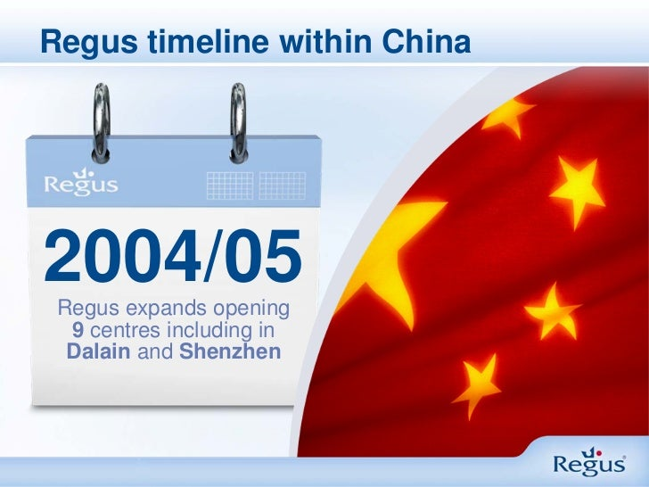 Regus timeline within China2004/05 Regus expands opening  9 centres including in  Dalain and Shenzhen