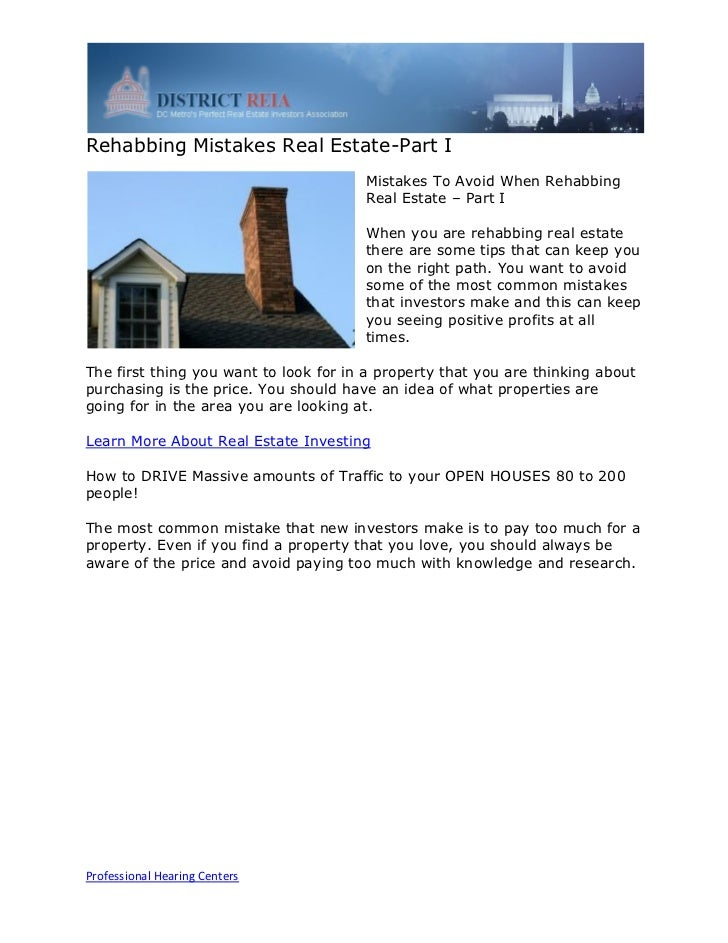 Rehabbing Mistakes Real Estate-Part I                                       Mistakes To Avoid When Rehabbing              ...